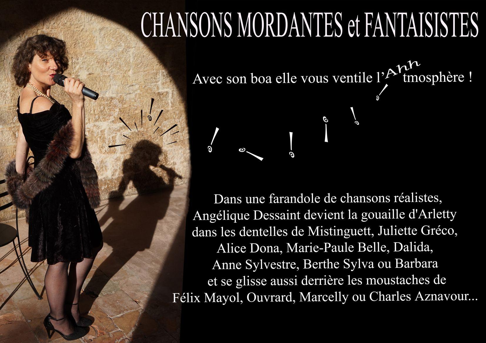 Angelique Dessaint au marché de la Seiche CHANSONS MORDANTES ET FANTAISISTES