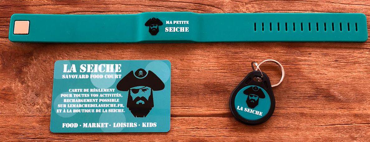 Bracelet, carte et badge cashless - marché de la Seiche - Sevrier, Annecy