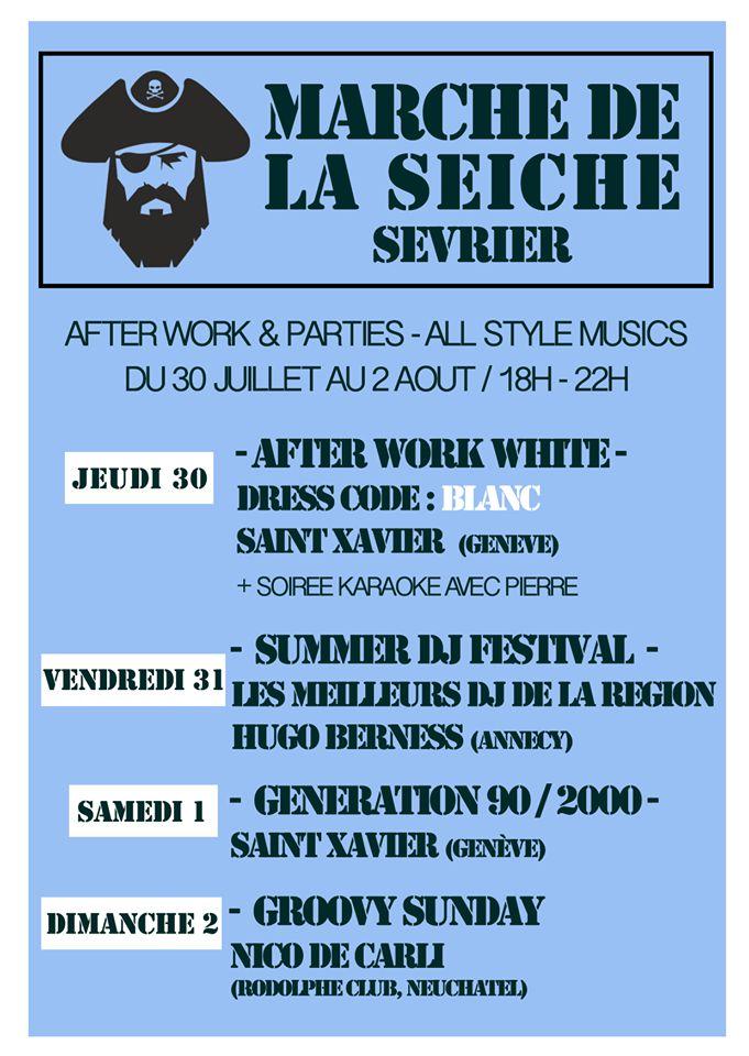 After work parties - DJ's All style, 30 juillet au 2 août - marché de la Seiche, Sevrier