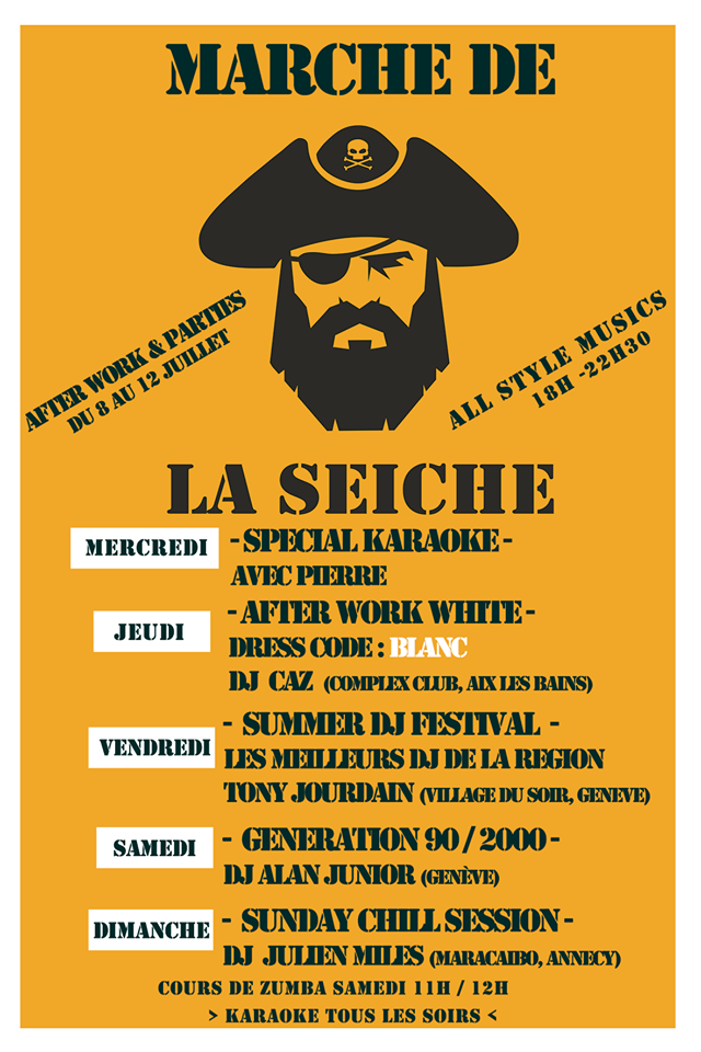 After work parties - DJ's All style, 8 au 12 juillet - marché de la Seiche, Sevrier
