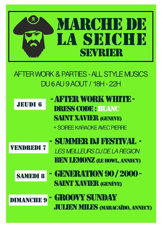 After work parties jeudi 6 au dimanche 9 août - DJ's All style, marché de la Seiche, Sevrier