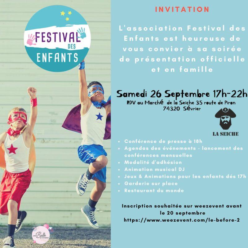 FESTIVAL DES ENFANTS, samedi le 26 septembre dès 17h au Marché de la Seiche à Sévrier.