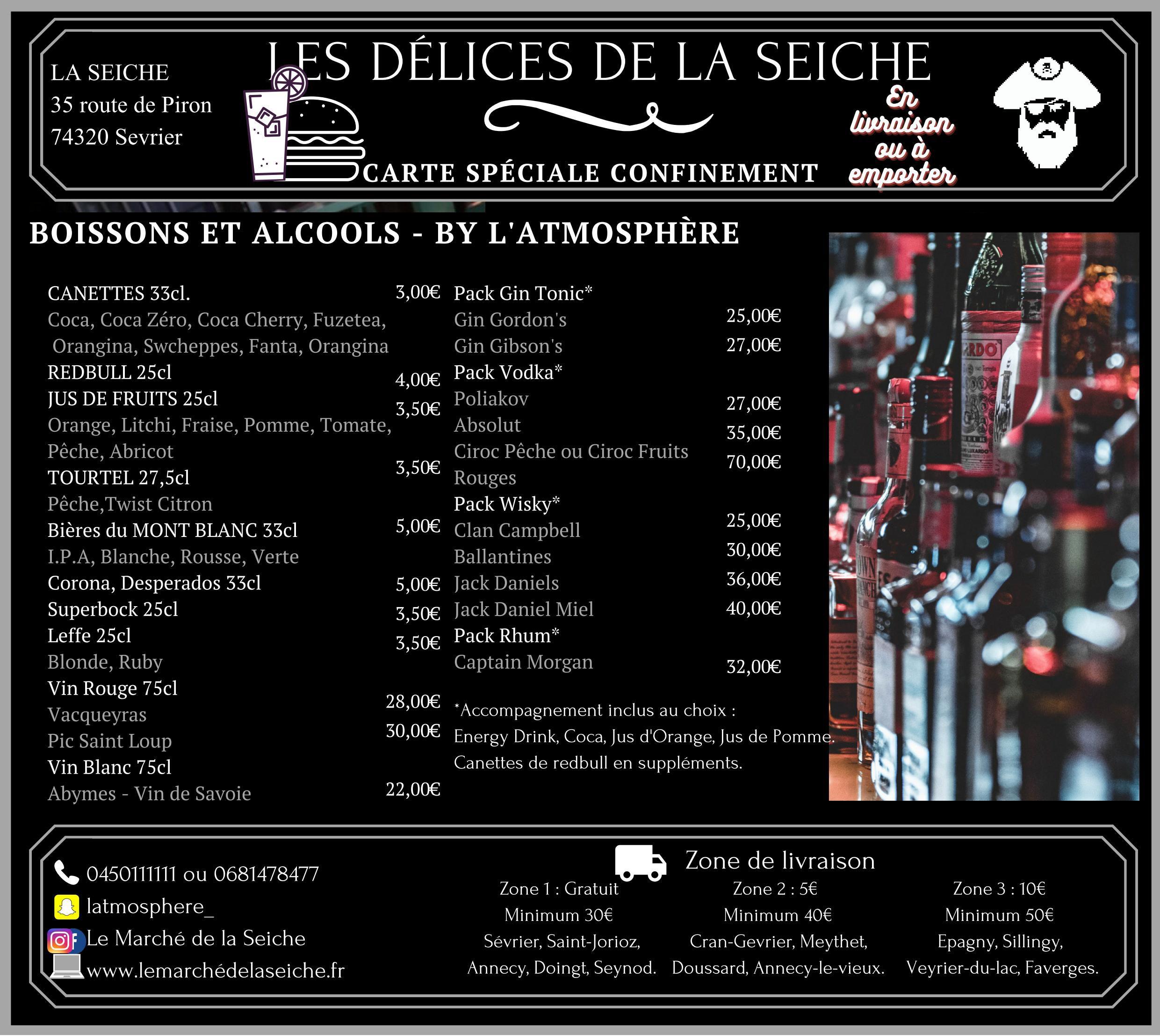 Carte boissons livraison et emporter confinement automne - La Seiche - Sevrier - Annecy - Saint-Jorioz -Faverges