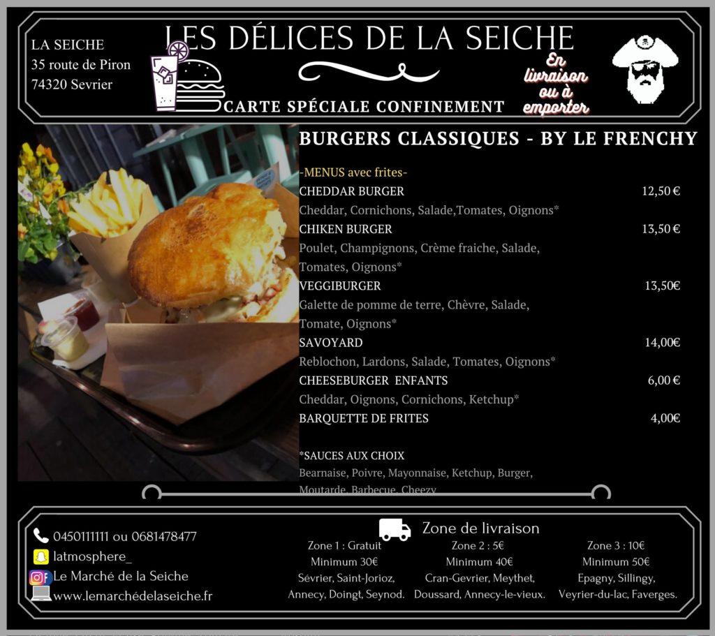Région Annecy - menus burgers et boissons en livraison et à l'emporter.