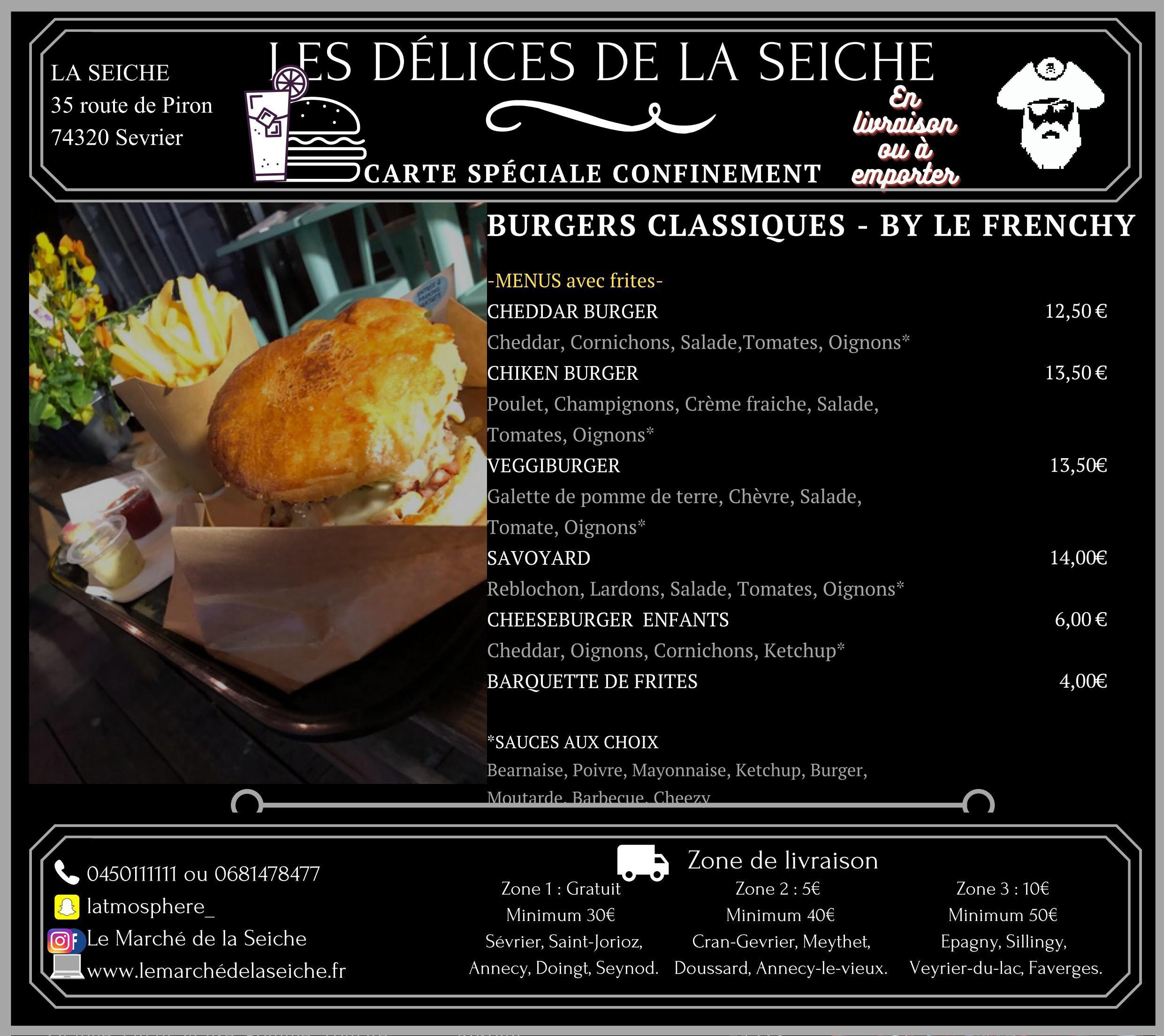 Carte burgers livraison et emporter confinement automne - La Seiche - Sevrier - Annecy - Saint-Jorioz -Faverges
