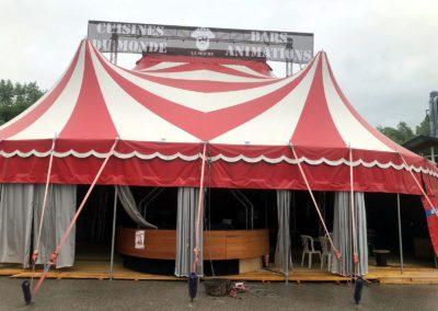 A Vendre - Chapiteau de cirque de 14 x 18 m rouge et blanc - Homologué