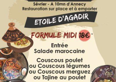 Menu du midi, stand-restaurant L'Étoile d'Agadir, La Seiche, Sevrier