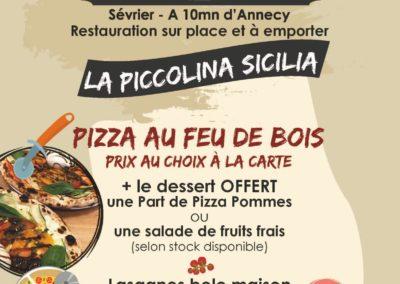 Menu du midi, stand-restaurant La Piccolina Sicilia, La Seiche, Sevrier