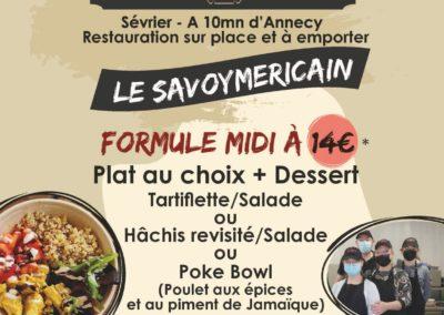 Menu du midi, stand-restaurant Le Savoymericain, La Seiche, Sevrier