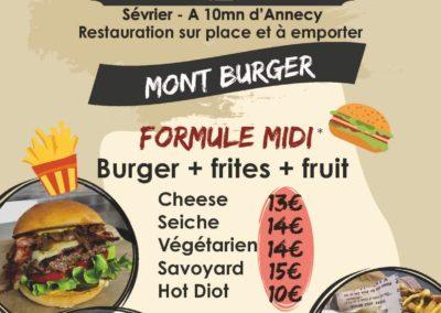 Menu du midi, stand-restaurant Mont Burger, La Seiche, Sevrier