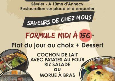 Menu du midi, stand-restaurant Saveurs de chez nous, La Seiche, Sevrier