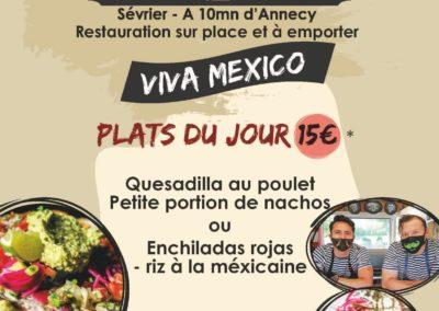 Menu du midi, stand-restaurant Viva Mexico, La Seiche, Sevrier