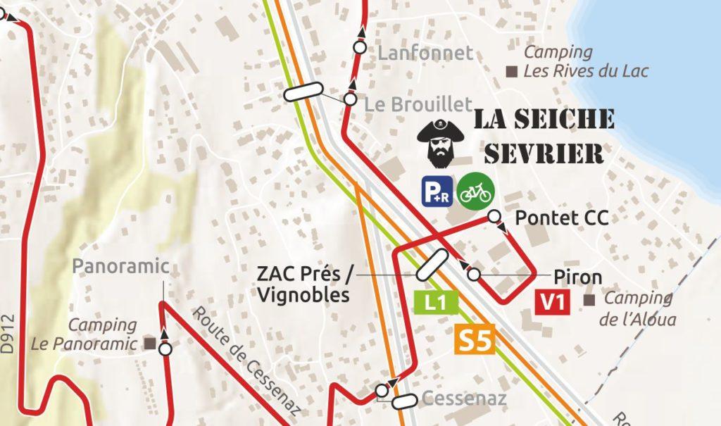 Mobilité douce à La Seiche - bus Sevrier