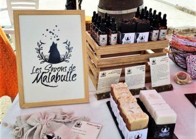 Savon de Malabulle -Artisanat au marché nocturne des créateurs, juin 2021 à La Seiche, Sevrier, Haute-Savoie