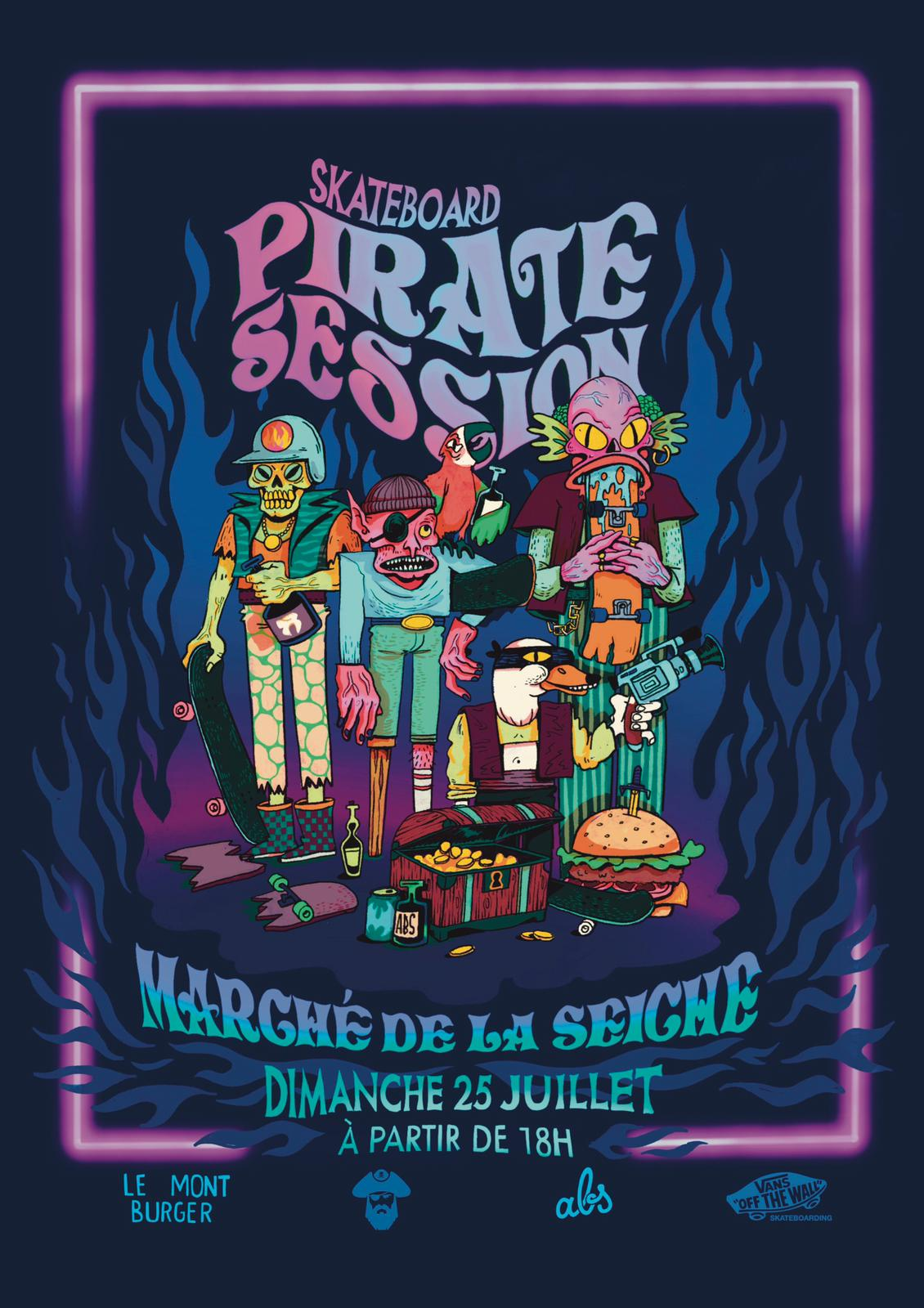 Skateboard pirate session au marché de la Seiche avec le Mont Burger et Annecy Board Club. Sevrier