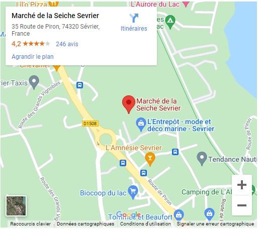 Maps du marché de la Seiche à Sévrier(74) près du lac d'Annecy. Bar, restaurant, loisirs, artisanat