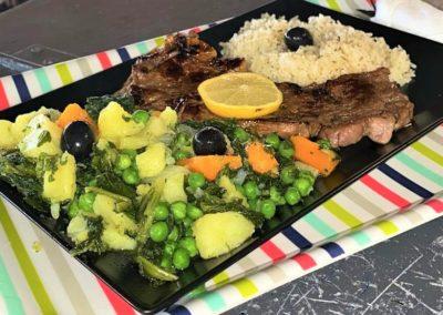 Sauter de légumes avec entrecôte par Saveurs de chez nous. stand-restaurant. la Seiche, Sevrier