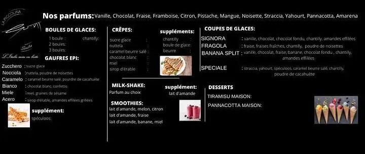 Desserts, crêpes, gaufres, glaces, smoothies Piccolina Sicilia DOLCE. Marché de la Seiche, Sevrier